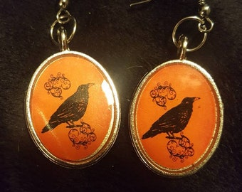 Crow raven Halloween earrings