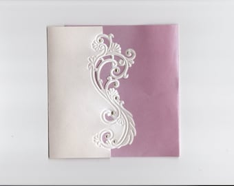 Embossed Swirl Pocket Fold Wedding Invitation - Choose Your Colors - Customize Your Own