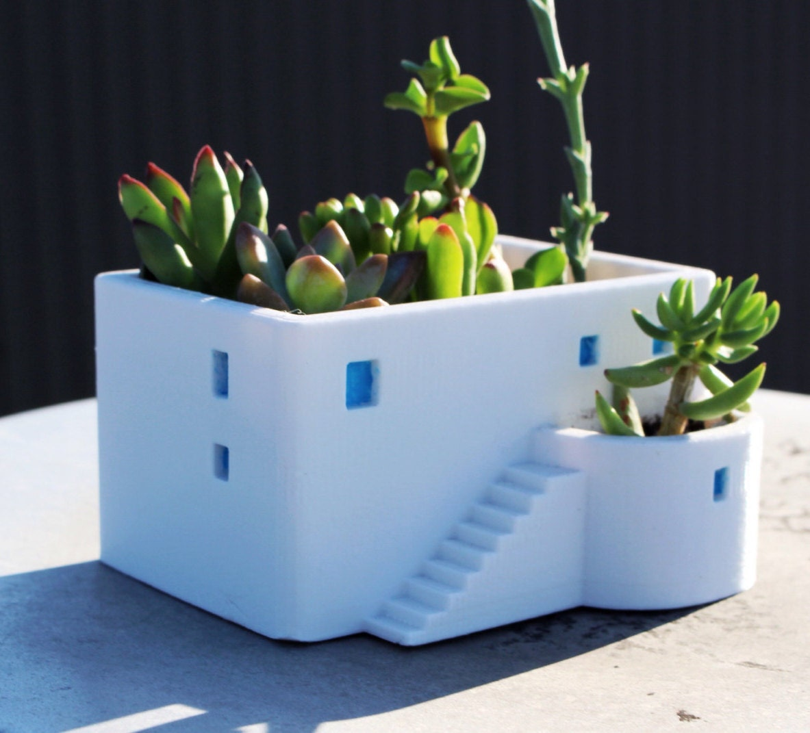 Greek House House Planter, Summer Gift, 3D printed, Miniature, Cute, Office