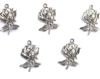 LOT 5 METALS CHARMS Silver: 22mm rose