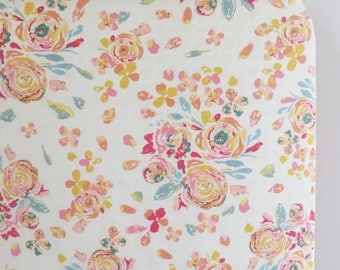 Swift Florals floral crib sheet| Fitted Crib Sheet/Changing Pad Cover/ Mini Crib Sheet/Standard Pillowcase