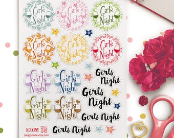 Girls Night Floral Wreath Planner Stickers |  Kikki K | Erin Condren | Filofax | Mambi | Happy Planner