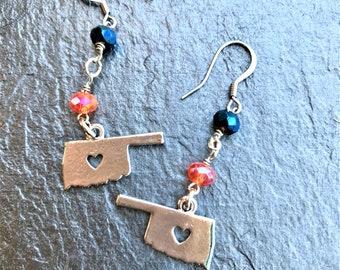 Oklahoma City, Oklahoma City Thunder, Orange and Blue Earrings, Oklahoma Earrings, Dangle Earrings, Drop Earrings, Silver Earrings