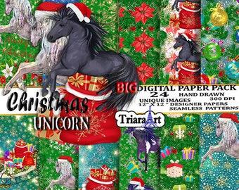 Christmas Paper Pack Christmas Digital Paper pack horse digital paper pack Seamless Pattern Unicorn Digital paper Winter Digital Paper Stars