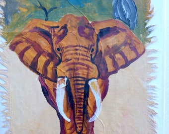 African Painting of an ELEPHANT - mounted on Greeting Card