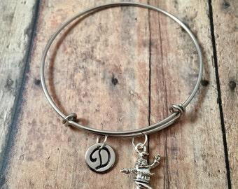 Christmas elf initial bangle- Christmas jewelry, elf bracelet, holiday jewelry, Christmas elf jewelry, holiday bracelet, silver elf bangle