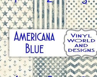 Pattern Vinyl, Americana Blue, HTV, Printed Vinyl, Adhesive Vinyl, Heat Transfer Vinyl, Iron On Vinyl, Stars and Stripes, 4th of July