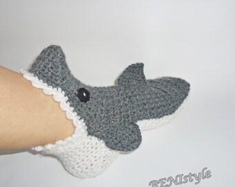 Crochet Shark Socks/Slippers,  Crochet Shark Socks, Adult Shark Socks, Women Shark Socks