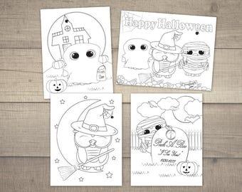 Halloween Coloring Page, Halloween coloring sheet, Printable Coloring Pages, Owl Coloring Printable, Halloween Owl -4designs,Digital File