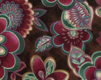 Quilting Treasures Ophelia, 100% cotton fabric, brown back ground with purple, teal, gold and pink flowers. ~64