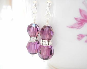 Amethyst Earrings, Swarovski Crystal Earrings, Sterling Silver Jewelry, February Birthday Gift, Birthstone Earrings, Purple Dangle Earrings