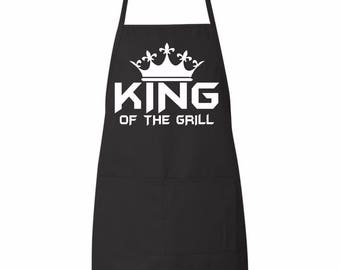 King Of the Grill father's day kitchen apron black