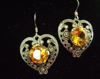 Upcycled Topaz Silvertone Vintage Heart Earrings