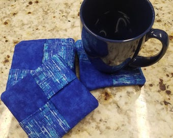 """Set of 4 Blue Fabric Coasters, Approx 4"""""""
