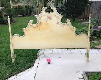 FRENCH PROVINCIAL King HEADBOARD / Tall French Style Scroll Headboard with Posts / Baroque King Headboard  Paris Apt at Retro Daisy Girl