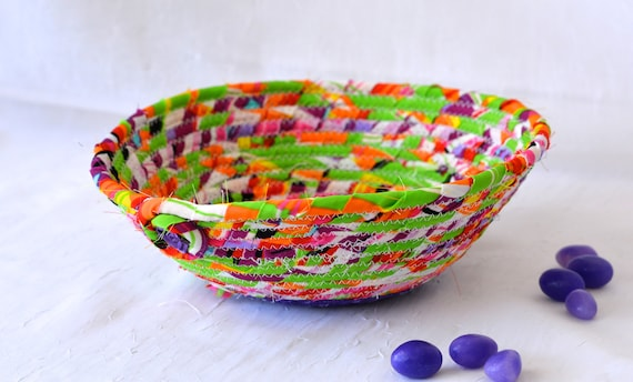 Artisan Quilted Basket, Handmade Purple and Green Bowl, Bling Ring Dish, Candy Dish, Makeup Organizer, Cute Desk Accessory Bowl