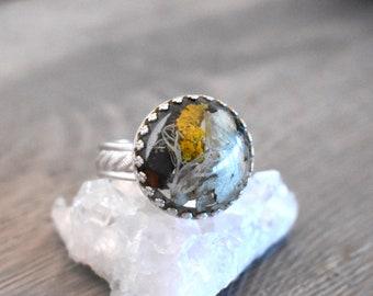 Lichen Ring, Forest Dweller Ring, Statement Ring, Plant Ring, Lichen Jewelry, Lichen lovers, Nature lovers, Natural Ring, Midwest, Forest