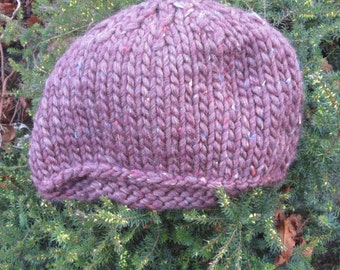 Gift for Mothers Day - Ladies handknitted beanie hat in plum