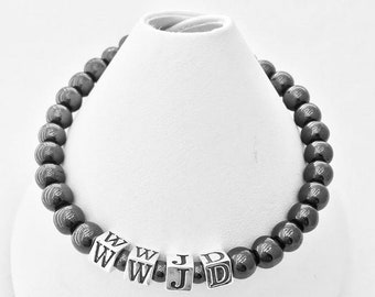 What Would Jesus Do WWJD Hematite and Sterling Silver Bracelet