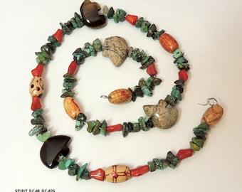 "Southwest Zuni Bear Fetish Beads Turquoise  Coral Jasper Tiger Eye Stone  Coral 17.5"" Strand E"