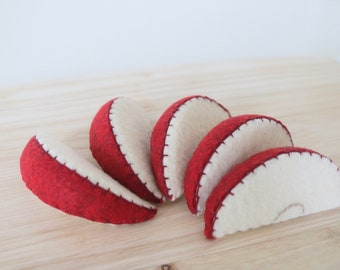 Felt Apple - Felt Apple Slices - Felt Food - Pretend Food - Play Food - Play Food Apple - Play Food Apple Slixes - Plush Toy - Pretend Play