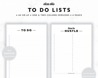TO DO LISTS / To Do List Printable / 2018 Planner / Printable To Do Lists / To Do List / To Do / The Harlow Planners in Moonshine / 415