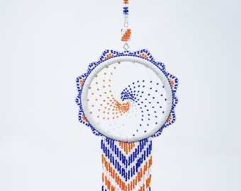 Beaded Dream Catchers-3inch- White Suede Hoop-Native American Home Decor