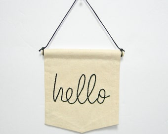 Hello banner, mini banner hanging, wall art, home decor, room decor, dorm decor, house warming gift