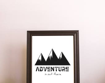 ADVENTURE POSTER - Instant Download, Printable Wall Art, Wall Art Print, Adventure Art, Wall Decor, Camping, Hiking Art, Mountain Art