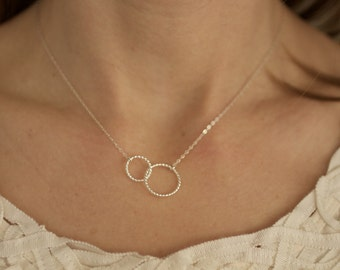 Circle Necklace, Dainty Necklace, Dainty Gold Necklace, Two Circles, Dainty Silver Necklace, Connected Circles, Circles, Delicate Necklace