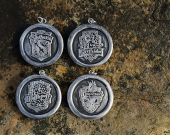 Hogwarts House Crest Stamped Pendant Necklace - Choose Your House