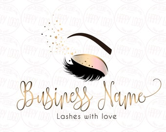 DIGITAL Custom logo design , lashes logo, lashes beauty logo, makeup logo, gold lashes logo design, gold beauty logo,  graphic design lashes