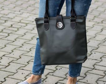 Leather Tote Bag, Shoulder Bag, Leather Bag, Large Handbag, Tote Bag, Handmade Purse, Shopper bag Laptop bag Gift for Her, Gray Leather Tote