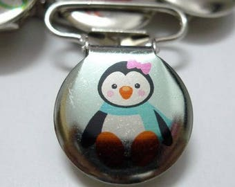 Pink Penguin bow round pacifier clip