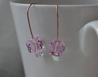 Modern Rose Swarovski Crystal Cube Earrings Handmade