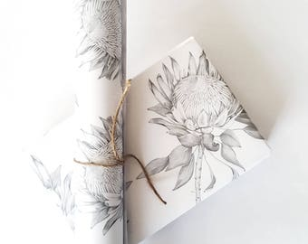 PROTEA/Grey/GIFT WRAP/Wrapping Paper/Hand Drawn/Botanical Art