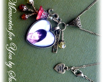 Custom Gift-Personalized Picture-Antique Bronze Heart Glass Tile Photo Pendant Necklace-Keepsake-Vintage-Memorial Jewelry-Remembrance-