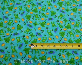 Froggin Around Frogs Lily Pads on Turquoise Blue BY YARDS Blank Quilting Fabric