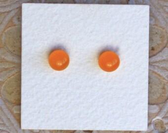 Fused Glass Earrings, Petite, Pumpkin DGE-1171