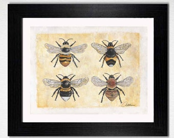 Bee Wall Art Bee Wall Decor Bee Home Furnishing Bee Painting Bee Art Bee Original Artwork Bee Printable Bee Download -Makes a great bee gift