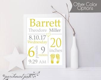Nursery Art - Baby Stats Personalized Art - Birth Announcement Sign - Baby Boy Art - Baby Girl Art - Printable Poster - Nursery Decor