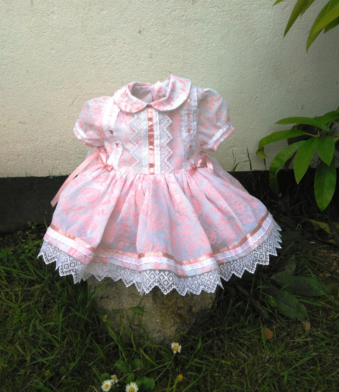 baby girl pink and white brocade dress special occasion