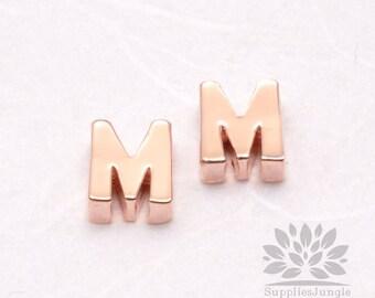 "IP002-GRG-M// Glossy Rose Gold Plated Simple Initial ""M"" Pendant, 2 pcs"