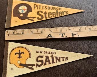 Retro NFL Pennants, Set of 2, Saints Pennant, Steelers Pennant, Stiff Felt Pennants, 1970s Football Pennants