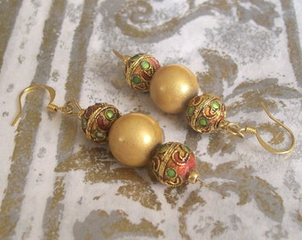 Elegant Gold Earrings with Cloisonne Beads - Fancy Formal Elegant Holiday Jewelry
