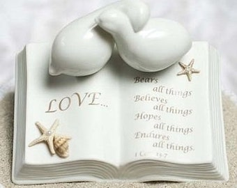 Love Verse Bible with Doves and STARFISH BEACH Accents Wedding Cake Topper Figurine - 707512B