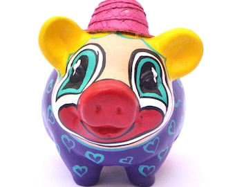 Clown Piggy Bank, Clown, Hand Made, Kids Piggy Bank, Personalized Piggy Bank, Collectionist, Ceramic, Perfect Gift
