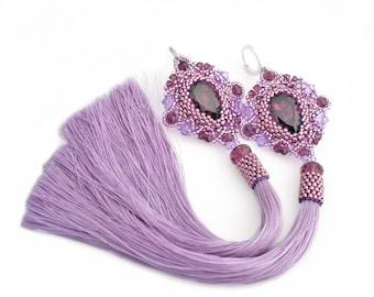 Purple beadwork earrings with Swarovski amethyst crystal