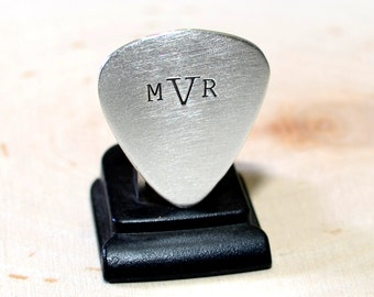 Monogram Sterling Silver Guitar Pick with your Personalized Monogram - Solid 925 GP796