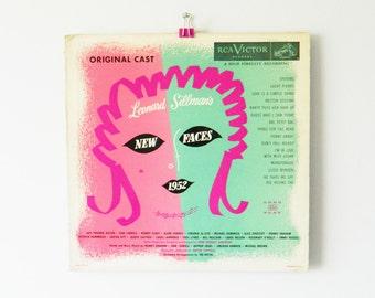 Mid Century Vinyl Album / Coral and Mint Green Illustrated Record / Vintage Album
